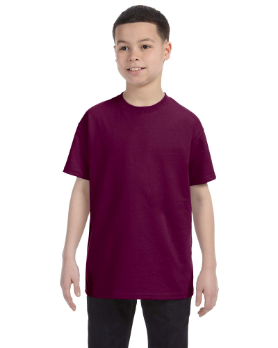 Maroon Classic Cotton  Youth T as seen from the front