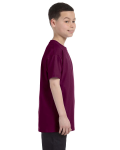 Maroon Classic Cotton  Youth T as seen from the sleeveleft