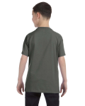 Military Green Classic Cotton  Youth T as seen from the back