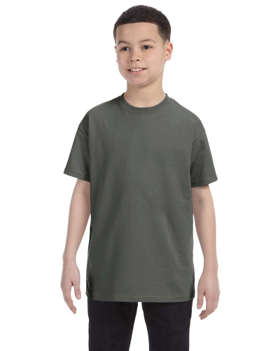 Military Green Classic Cotton  Youth T as seen from the front