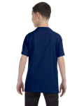 Navy Classic Cotton  Youth T as seen from the back