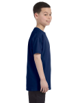 Navy Classic Cotton  Youth T as seen from the sleeveleft