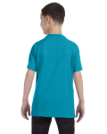 Tropical Blue Classic Cotton  Youth T as seen from the back