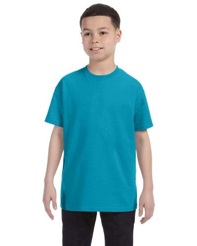 Tropical Blue Classic Cotton  Youth T as seen from the front