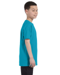 Tropical Blue Classic Cotton  Youth T as seen from the sleeveleft