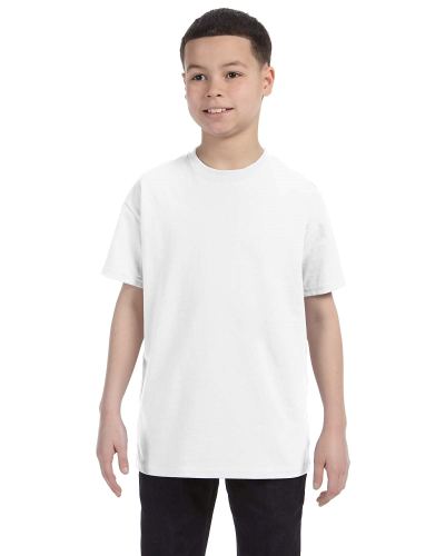 White Classic Cotton  Youth T as seen from the front