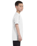 White Classic Cotton  Youth T as seen from the sleeveleft