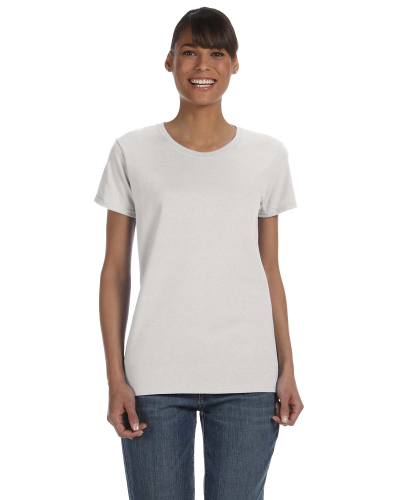 Ash Grey Classic Cotton Ladies' Missy Fit T-Shirt as seen from the front