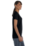 Black Classic Cotton Ladies' Missy Fit T-Shirt as seen from the sleeveleft