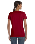 Cardinal Red Classic Cotton Ladies' Missy Fit T-Shirt as seen from the back