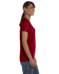 Cardinal Red Classic Cotton Ladies' Missy Fit T-Shirt as seen from the sleeveleft