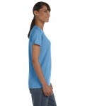 Carolina Blue Classic Cotton Ladies' Missy Fit T-Shirt as seen from the sleeveleft