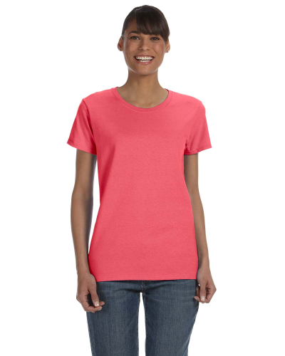 Coral Silk Classic Cotton Ladies' Missy Fit T-Shirt as seen from the front