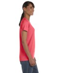 Coral Silk Classic Cotton Ladies' Missy Fit T-Shirt as seen from the sleeveleft