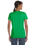 Electric Green Classic Cotton Ladies' Missy Fit T-Shirt as seen from the back