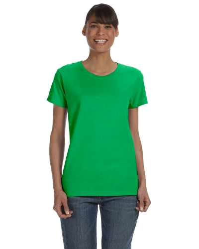 Electric Green Classic Cotton Ladies' Missy Fit T-Shirt as seen from the front