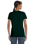Forest Green Classic Cotton Ladies' Missy Fit T-Shirt as seen from the back