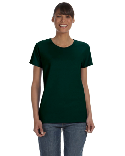 Forest Green Classic Cotton Ladies' Missy Fit T-Shirt as seen from the front
