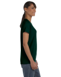 Forest Green Classic Cotton Ladies' Missy Fit T-Shirt as seen from the sleeveleft