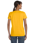 Gold Classic Cotton Ladies' Missy Fit T-Shirt as seen from the back