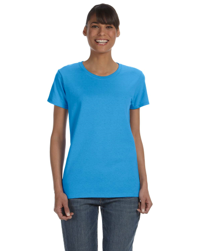 Heather Sapphire Classic Cotton Ladies' Missy Fit T-Shirt as seen from the front