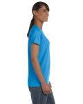 Heather Sapphire Classic Cotton Ladies' Missy Fit T-Shirt as seen from the sleeveleft