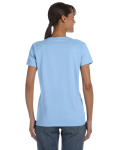 Light Blue Classic Cotton Ladies' Missy Fit T-Shirt as seen from the back