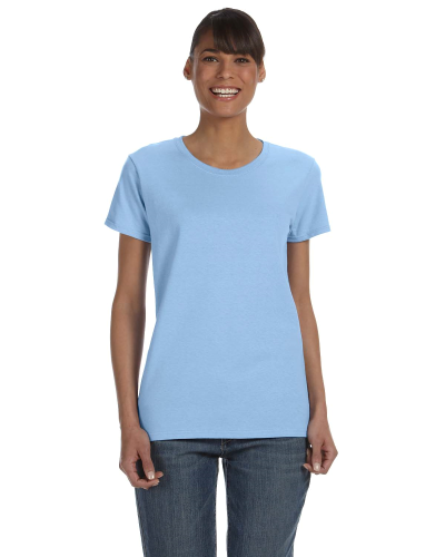 Light Blue Classic Cotton Ladies' Missy Fit T-Shirt as seen from the front
