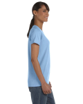 Light Blue Classic Cotton Ladies' Missy Fit T-Shirt as seen from the sleeveleft