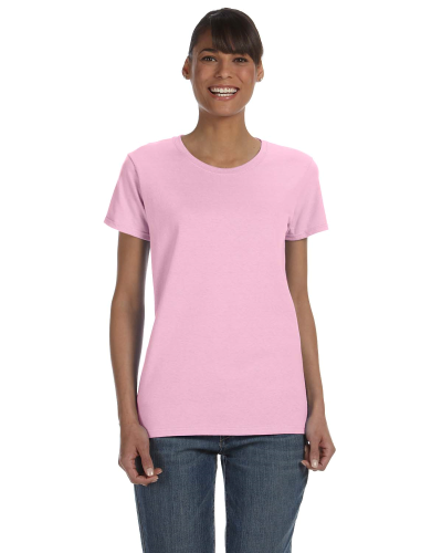 Light Pink Classic Cotton Ladies' Missy Fit T-Shirt as seen from the front