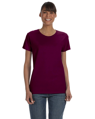 Maroon Classic Cotton Ladies' Missy Fit T-Shirt as seen from the front