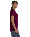 Maroon Classic Cotton Ladies' Missy Fit T-Shirt as seen from the sleeveleft