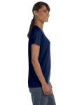 Navy Classic Cotton Ladies' Missy Fit T-Shirt as seen from the sleeveleft