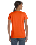 Orange Classic Cotton Ladies' Missy Fit T-Shirt as seen from the back