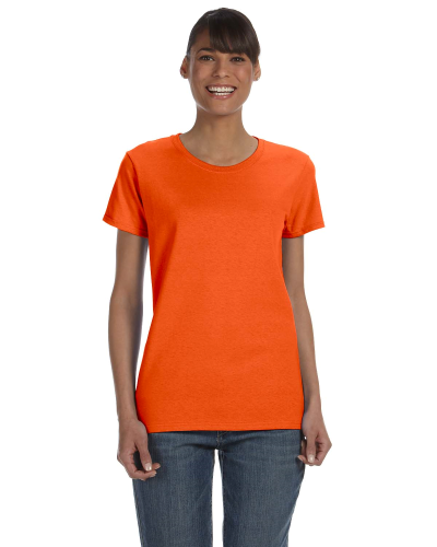 Orange Classic Cotton Ladies' Missy Fit T-Shirt as seen from the front