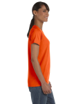 Orange Classic Cotton Ladies' Missy Fit T-Shirt as seen from the sleeveleft
