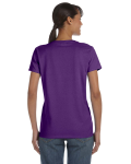 Purple Classic Cotton Ladies' Missy Fit T-Shirt as seen from the back