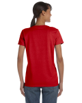 Red Classic Cotton Ladies' Missy Fit T-Shirt as seen from the back