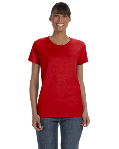 Red Classic Cotton Ladies' Missy Fit T-Shirt as seen from the front