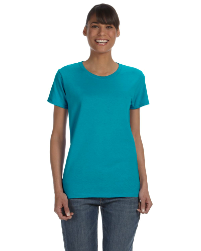 Tropical Blue Classic Cotton Ladies' Missy Fit T-Shirt as seen from the front
