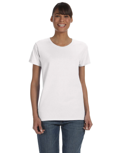 White Classic Cotton Ladies' Missy Fit T-Shirt as seen from the front