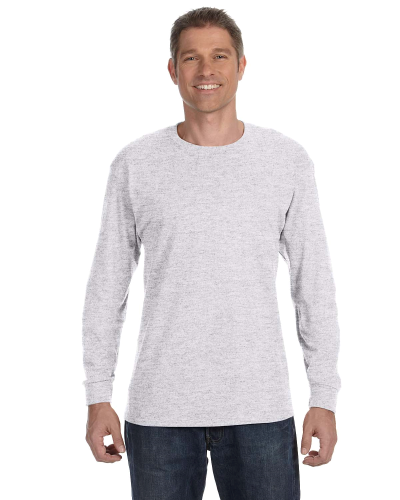 Ash Grey Classic Cotton Long-Sleeve T as seen from the front