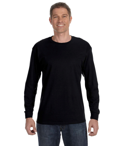 Black Classic Cotton Long-Sleeve T as seen from the front
