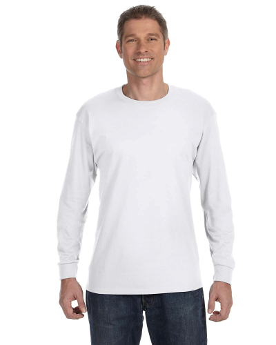 White Classic Cotton Long-Sleeve T as seen from the front