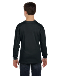 Black Classic Cotton Youth Long-Sleeve T as seen from the back
