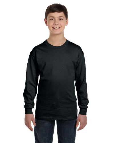 Black Classic Cotton Youth Long-Sleeve T as seen from the front