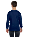 Navy Classic Cotton Youth Long-Sleeve T as seen from the back