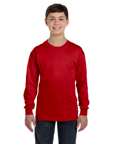 Red Classic Cotton Youth Long-Sleeve T as seen from the front