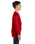 Red Classic Cotton Youth Long-Sleeve T as seen from the sleeveleft