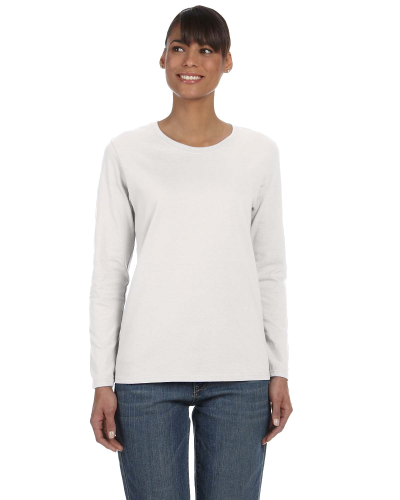 Ash Grey Classic Cotton Ladies' Missy Fit Long-Sleeve T as seen from the front